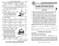 7th Grade Mathematics Booklet Worksheet