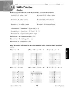 8.3 Skills Practice: Circles Worksheet