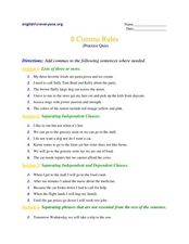 8 Comma Rules Worksheet