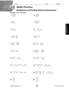 9-1 Skills Practice: Multiplying and Dividing Rational Expressions Worksheet