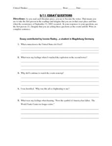 9/11 Essay Questions Lesson Plan