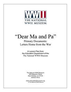 ¿¿¿Dear Ma and Pa¿¿¿- Primary Documents: Letters Home from the War Lesson Plan