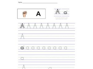 A (American Sign Language Graphic) Worksheet