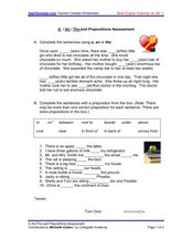 A/ An/ The and Prepositions Assessment Worksheet