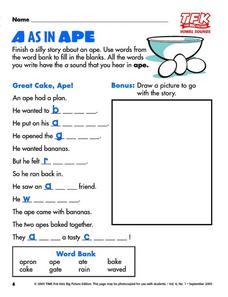 A as in Ape Lesson Plan