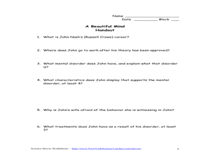 A Beautiful Mind Handout 8th - 12th Grade Worksheet   Lesson Planet
