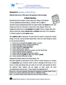 A Book Review Worksheet