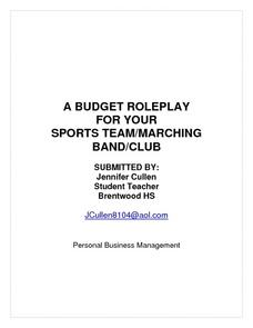 A Budget Roleplay For Your Sports Team/Marching Band/Club Lesson Plan