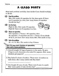 A Class Party: Multiply or Divide? Worksheet