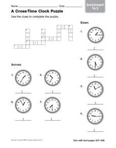 A Cross- Time Clock Puzzle Worksheet