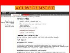 A Curve of Best Fit Lesson Plan