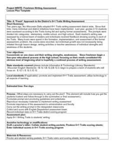 "A ""Fresh"" Approach to the District's 6+1 Traits Writing Assessment Lesson Plan"