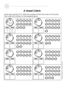 A Great Catch - Counting Tens and Ones Worksheet