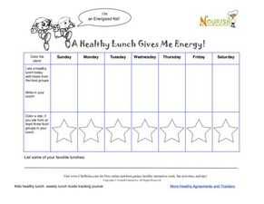 A Healthy Lunch Gives Me Energy Worksheet
