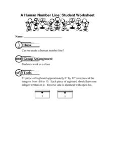 A Human Number Line: Student Worksheet Worksheet