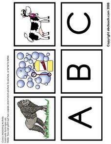 A-I Letter Picture Matching Activity Worksheet
