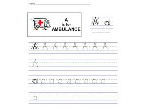 A is for Ambulance Worksheet
