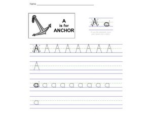 A is for Anchor Worksheet