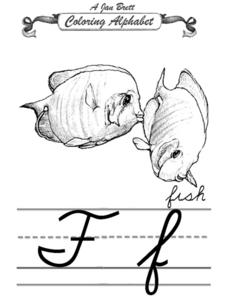 A Jan Brett Coloring Alphabet-- The Letter Ff Worksheet
