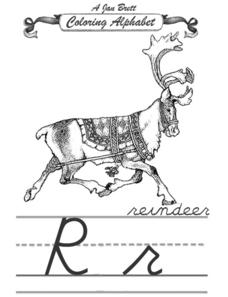 A Jan Brett Coloring Alphabet-  The Letter Rr Worksheet