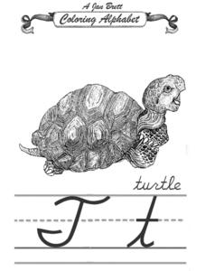 A Jan Brett Coloring Alphabet--The Letter Tt Worksheet