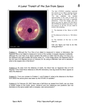 A Lunar Transit of the Sun from Space Worksheet
