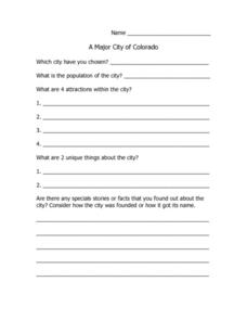 A Major City of Colorado Lesson Plan