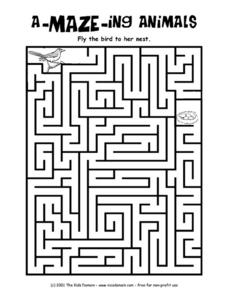 A-Maze-Ing Animals Worksheet