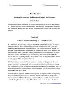 A New Business: Vinnie's Pizzeria and the Lessons of Supply and Demand Worksheet