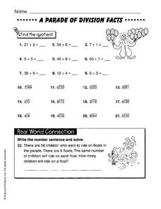 A Parade of Division Facts Worksheet