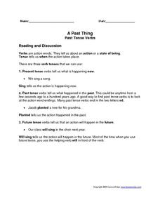 A Past Thing Past Tense Verbs Worksheet