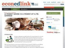 A Penny Saved is a Penny at 4.7% Earned Lesson Plan