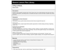 A PLAY ON WORDS Lesson Plan