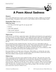 A Poem About Sadness Worksheet