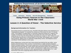 A Question of Honor - The Selective Service Lesson Plan