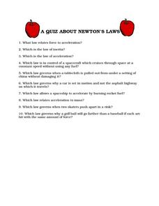 A Quiz About Newton's Laws Worksheet