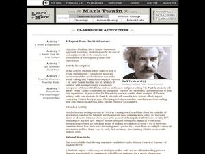 A Report From the 21st Century - Mark Twain Lesson Plan