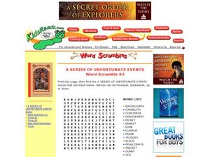 A Series of Unfortunate Events Word Scramble #2 Lesson Plan