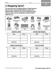 A Shopping Spree Worksheet