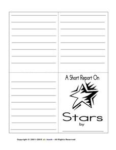 A Short Report on Stars- Little Book Worksheet