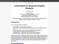 A Simulation for Business English Students Lesson Plan
