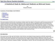 A Statistical Study by Adolescent Students on Relevant Issues Lesson Plan