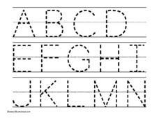 A Thru N Alphabet Trace Worksheet