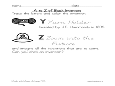 A to Z of Black Inventors Worksheet
