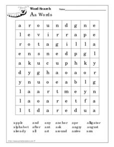 Aa Word Search Worksheet