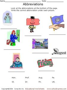 Abbreviations and Pictures Worksheet