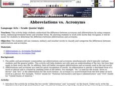 Abbreviations vs. Acronyms Lesson Plan