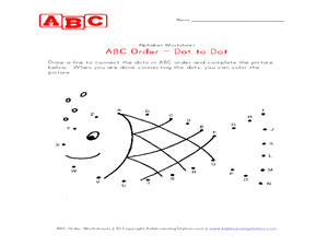 ABC Order- Dot to Dot Pre-K - Kindergarten Worksheet | Lesson Planet
