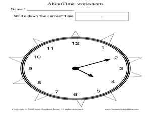 About Time: Clock Activity Worksheet