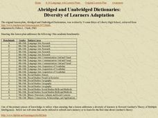 Abridged and Unabridged Dictionaries Lesson Plan